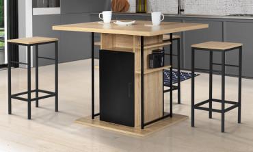 Ilot central de cuisine 110 cm avec rangements noir et hêtre