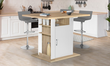 Ilot central de cuisine 110 cm avec rangements blanc et hêtre