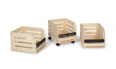 Clayettes en bois à roulettes - lot de 3