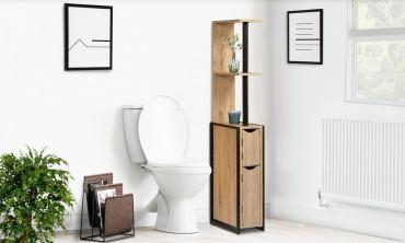 Etagere WC 2 portes bois/métal Timeo