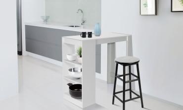 Table de bar avec rangements intégrés