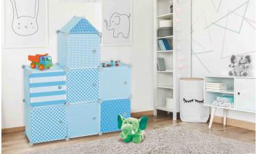 Meuble de rangement cube enfant château 7 cases