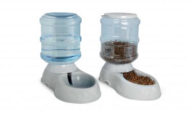 Distributeurs automatiques croquettes et eau 3,75L pour chien et chat