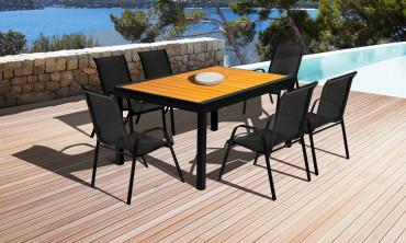 Table extensible Polywood Noir/Bois