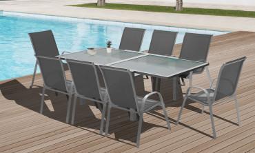 Table extensible verre trempé Saint-Tropez - 90x180cm