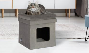 Maison niche pliante grise 2 en 1 pour chat