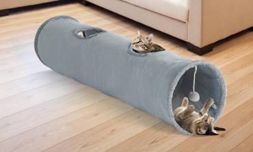 Tunnel pour chat 130x30 cm gris
