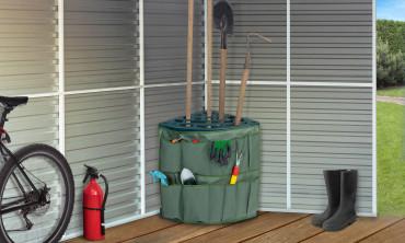 Rack d'angle pour outils de jardin